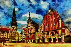 House of the Blackheads in Riga. Latvia (V_Dagaev) Tags: house building riga latvia square town tower city capital street art architecture painterly painting painter paintingsfromphotos paint digital dynamicautopainter visualdelights landscape