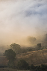 Val d'Orcia morning fog #1 (Massimiliano Teodori) Tags: valdorcia sanquiricodorcia pienza torrenieri landscape tuscany italy fog haze mist dawn rising sun