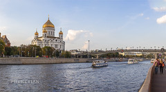 Panorama Spasitel boats bridge - s (Phuketian.S) Tags: moscow russia capital urban building river architecture day landscape cityscape town bridge skyscraper temple church retro modern house glass mirror window phuketian