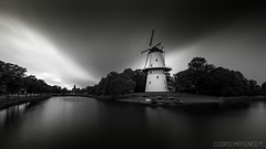 Middelburg Mill - Holland (Cédric Mayence Photography) Tags: holland paysbas paysage noiretblanc blackandwhite molen mill moulin water eau longexposure longuepause exposition storm tempête zeeland middelbourg walcheren zélande rooseveltacademy sony sony7riii fineart blackandwhitefineart bw nb