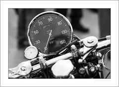 Big clock, small clock (G. Postlethwaite esq.) Tags: bw dof derbyshire heagewindmill unlimitedphotos bigclock blackandwhite bokeh classicbikes depth monochrome motorbike motorcycle photoborder selectivefocus vincent