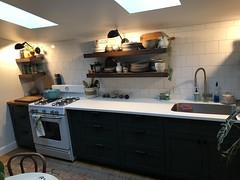 Kitchen reno lights on 1 (moke076) Tags: kitchen house renovation custom cabinets decor design green wood walnut square tiles