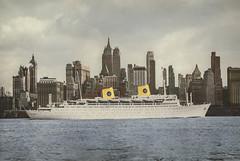 A Swedish beauty in New York (1950s) (frankmh) Tags: ship oceanliner cruiseship mskungsholm swedishamericaline newyork 1950s