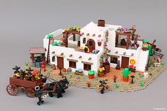 Mariachi wagon and Mexican house (Andrea Lattanzio) Tags: mexico mariachi diorama lego minifig wagon coach cactus