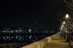 Night in Erie, Pennsylvania (Suni Lynn Lee) Tags: night erie pennsylvania streetlight moon reflection water pier landscape sidewalk nightphotography bay dock