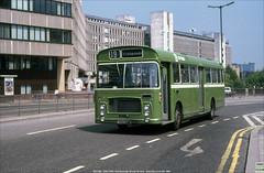 Bristol Omnibus RELL6L WE1326,  OHU34M, with her fleet number plates stolen, Marlborough Street, Bristol, June 9th 1984 (Bristol RE) Tags: 1326 c1326 we1326 ohu34m bristolomnibus citybus bristolre rell rell6l ecw marlboroughstreet bristol