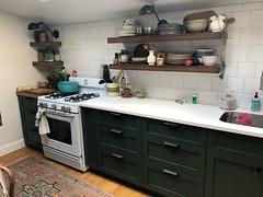 Kitchen reno lights off (moke076) Tags: kitchen house renovation custom cabinets decor design green wood walnut square tiles
