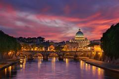Eternity (Elia Locardi) Tags: city bridge italy architecture night europe bluehour travel sunset vatican rome water portfolio roma st san basilica peter pietro