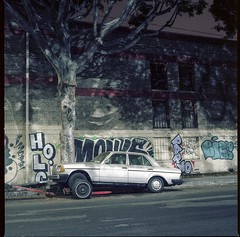 Stranded Benz (ADMurr) Tags: la eastside benz trailer night ficus grafitti hasselblad 500cm 50mm distagon zeiss kodak portra 400 6x6 fullframe square dad432