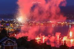 Fireworks in Akureyri, ICELAND (FotoLind) Tags: iceland akureyri ísland eyjafjörður fireworks pollurinn northiceland norðurland sea nightphotography verslo versloak