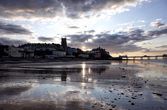 Evening light at Cromer (3pebbles) Tags: evening sunset cromer town coast church sand pier tide sea seaside sky clouds
