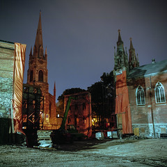 (patrickjoust) Tags: mamiya c330 s sekor 80mm f28 kodak portra 160 tlr twin lens reflex 120 6x6 medium format c41 color negative film cable release tripod long exposure night after dark manual focus analog mechanical patrick joust patrickjoust canada north america quebec city church steeple spire construction site orange tarp gravel