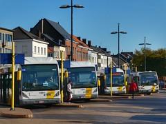 De Lijn lineup (sander_sloots) Tags: delijn buses bussen bus mechelen station vanhool dctz90 lumix panasonic public transport lamppost houses busstation stadsbus lantaarnpaal openbaar vervoer plein square selux