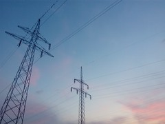 Early Morning Transmissions 01 (gemiiniitwiin) Tags: morning morninglights sky blue pale pink purple transmissiontowers transmissionwires transmission wires sunrise dusk dawn industrial phone