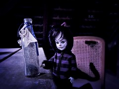 Wonderland in the old Attic (pianocats16) Tags: cheshire cat living dead dolls doll old attic drink me