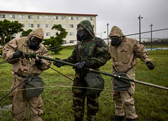 "U.S. Marines assemble an antenna group during CBRN defense training on Camp Hansen (#PACOM) Tags: marines 3rdmarinedivisioin headquartersbattery hq bychemical biological radiologicalandnucleardefensespecialists radiooperators radio oe254 oe camphansen okinawa japan training military 3rdmardiv division marine mopp moppgear missonorientedprotectiveposturegear cbrn usindopacificcommand ""usindopacom"