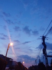 Awake 01 (gemiiniitwiin) Tags: morning dawn sky blue purple pink transmission transmissiontowers transmissionwires wires morninglights clouds phone