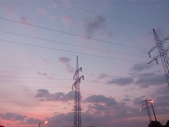 Early Morning Transmissions 02 (gemiiniitwiin) Tags: blue purple pink transmissiontowers transmissionwires wires sky morning sunrise dusk dawn phone morninglights