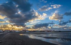 coastal village near evening (filipmije) Tags: village church sky clouds evening sunset light sea shore coast beach northsea spectacular