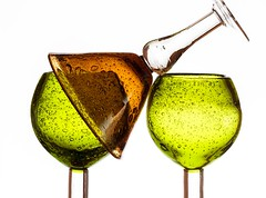 Green & Gold (Karen_Chappell) Tags: green gold orange brown white glass glasses stilllife product three 3 bubbles shapes goblets goblet stemware glassware colour color colours colors colourful