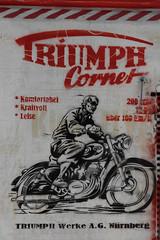 Triumph Corner (michael_hamburg69) Tags: hamburg germany deutschland streetart urbanart stencil wall mittenimwald artist künstler wohlwillstrasse50 eldorado musikbar triumphcorner triumph motorrad motorcycle 200ccm 12ps komfortabelkraftvollleise über100kmh triumphwerkeagnürnberg