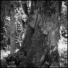 Predator (Ordinary Extraordinary World) Tags: 180mm 400tx 800 analog bnw bronica film format girl kodak medium monochrome nude push sqai trix woman xtol zenzanon zenzanonps predator mask