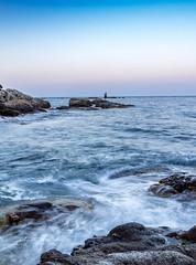 pescador (julio242) Tags: sunset landscape longexposure canon beach pescador water bluehour