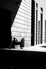 Awaiting the hour (pascalcolin1) Tags: paris13 homme man mur wall light lumière sun soleil portes doors photoderue streetview urbanarte noiretblanc blackandwhite photopascalcolin 5omm canon50mm canon