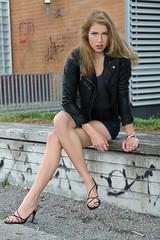 Chiara 16 (The Booted Cat) Tags: sexy cute teen model girl long blonde hair legs heels highheels feet foot barefoot barefeet leather jacket denim jeans hotpants sandals