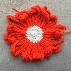 A future Day of the Dead crochet flower (crochetbug13) Tags: crochet crocheted crocheting crochetflower dayofthedead yarnbomb crochetsugarskull crochetyarnbomb crochetdaisy