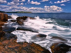 Crashing Waves (azhukau) Tags: sea nature rockobject coastline wave outdoors water blue scenics seascape landscape summer stoneobject nopeople watersedge beautyinnature cliff atlanticocean acadianationalpark usa sky clouds shore costal