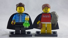 Brick Yourself Custom Lego Figures - Caped Brothers with Paintbrush, Chemistry Flask, Chocolate & Pet Parrot