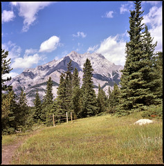 Cascade Mountain from the Surprise Corner Trail (cobbu2) Tags: banff cascademountain bronicas 75mmf28nikkorp velvia100 rvp100 fujichromevelvia100