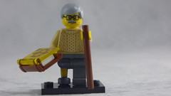 Brick Yourself Custom Lego Figure - Grandpa with Mystery Book Wooden Leg & Walking Stick