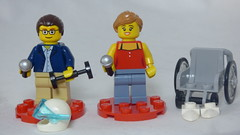 Brick Yourself Custom Lego Figures - Speakers  with Scuba Mask, Dumbell & Wheelchair