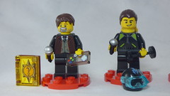 Brick Yourself Custom Lego Figures - Professor with Game Controller & Scuba Diver with Dumbell