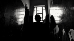 Muito aqui (Sofia Amaral Mociaro) Tags: bw pb pretoebranco blackandwhite depression sad window absoluteblackandwhite fotobrasil experimentalphotography constrast cliche portrait darkness shadows aisle corredor sofiamociaro oficina fotografia brasil brazil south america nikon d3100
