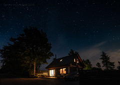 Is There Anybody Out There? (ianrwmccracken) Tags: log d750 nikon window nikkor1635mmf4 cabin star light countryside silhouette tree dark angus night sky scotland constellation