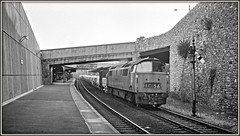 The Emperor comes to town (david.hayes77) Tags: dieselhydraulic western class52 1036 westernemperor devon westofengland summer teignmouth iilfordfp4 1976 semaphores freight cargo chinaclay westcountry