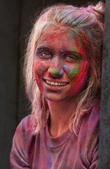 tired holy girl (back from Australia) Tags: holi holikathmandu holifestival fun colourful tired girl travel festivity portrait nepal kathmandu ivodedecker