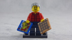Brick Yourself Custom Lego Figure - Happy Grandad with Box of Lego & Board Game