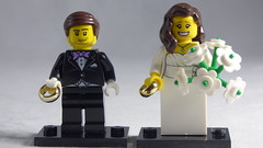 Brick Yourself Custom Lego Figures - Happy Couple with Wedding Rings & Big Bouquet
