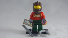 Brick Yourself Custom Lego Figure - Mountain Climber with Doughnut & Game Controller