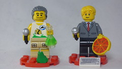 Brick Yourself Custom Lego Figures - Scientist with Frog & Young Man with Pizza & Keyboard