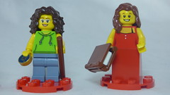 Brick Yourself Custom Lego Figures - Hiker with Compass & Lady in Dinner Dress with Book