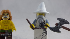Brick Yourself Premium Custom Lego Figure - White Wizard with Wand & Pipe