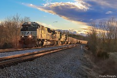 NS 745 tying down at WhiteHorn Signal on the NS Appalacia District on a winter evening. (Railroad Gal) Tags: norfolksouthern ns745 norfolksouthernappalachiadistrict ns diesellocomotives locomotives coaltrain railroad railfan femalerailfan appalachianmountains whitehorn evening winter sunset ns7276 sd70acu emd