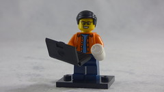 Brick Yourself Custom Lego Figure - Happy Guy with Laptop & Take-out Coffee