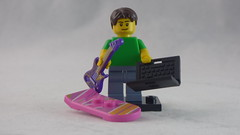 Brick Yourself Custom Lego Figure - Happy Guy with Guitar, Laptop & Hoverboard