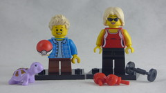Brick Yourself Custom Lego Figures - Mum with Boxing Gloves & Son with Pokemon Ball & Pet Turtel